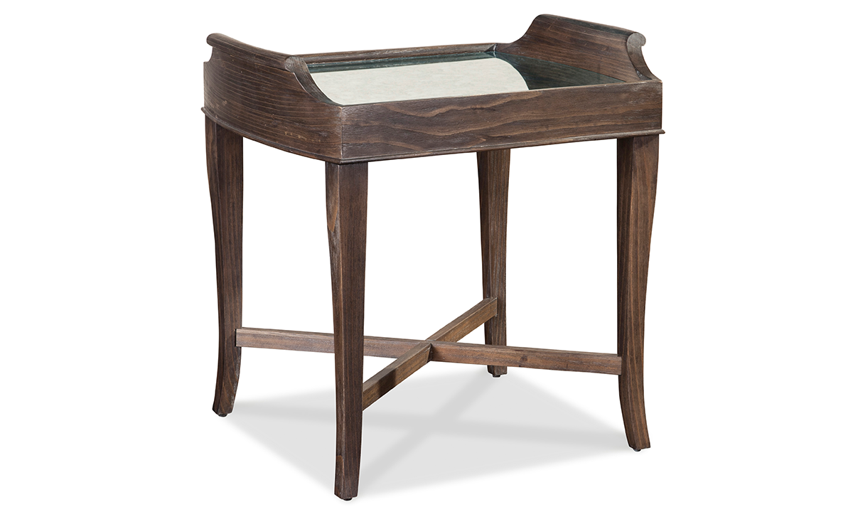 Contemporary square side table with mirror inset in warm coffee brown finish