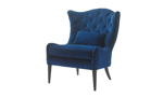 Elegant navy blue velvet wingback chair with button tufts and nailhead trim - Angled view