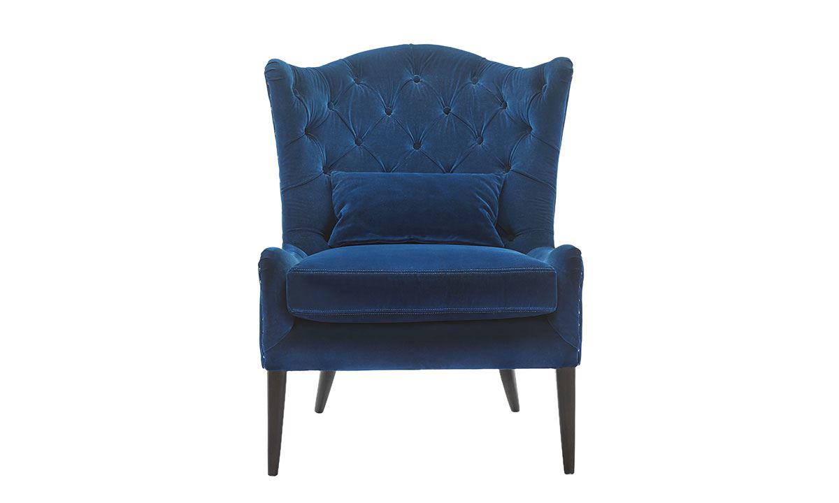 Elegant navy blue velvet wingback chair with button tufts and nailhead trim - Front View