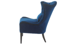Elegant navy blue velvet wingback chair with button tufts and nailhead trim - Side View