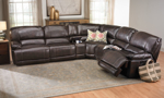 Storage sectional with dual power recliners and USB charging in brown upholstery