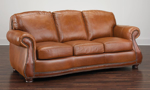 Traditional American-made 88-inch sofa in cognac top-grain leather with nailhead trim
