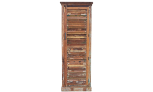 77-inch tall wardrobe handcrafted from recycled and reclaimed solid wood in India - Angled view