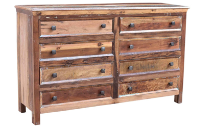 Rustic 8-drawer dresser handcrafted in India from repurposed solid wood - Angled View