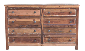 Rustic 8-drawer dresser handcrafted in India from repurposed solid wood - Front View