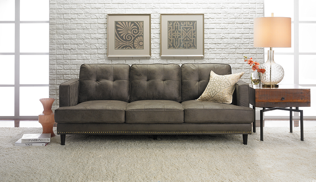 Picture of: Jax Hand Tufted Mid Century Microfiber Sofa The Dump Luxe Furniture Outlet