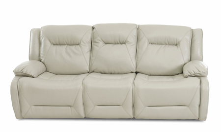 Plush oversized sofa with power recline in cream leather-look upholstery