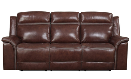 91-inch power reclining sofa with winged arms in brown leather-look upholstery