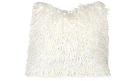 22-inch toss pillow in stain-proof white faux fur with feather down fill