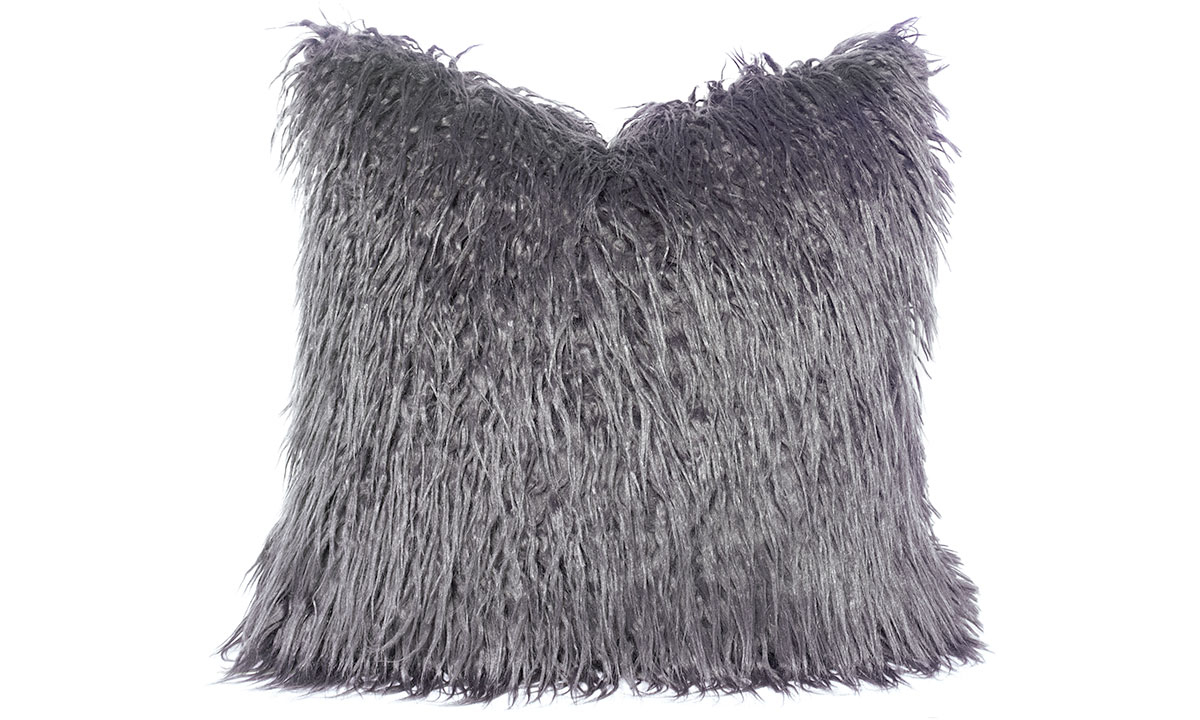 22-inch plush accent pillow in gray stain-resistant faux fur with feather down fill.