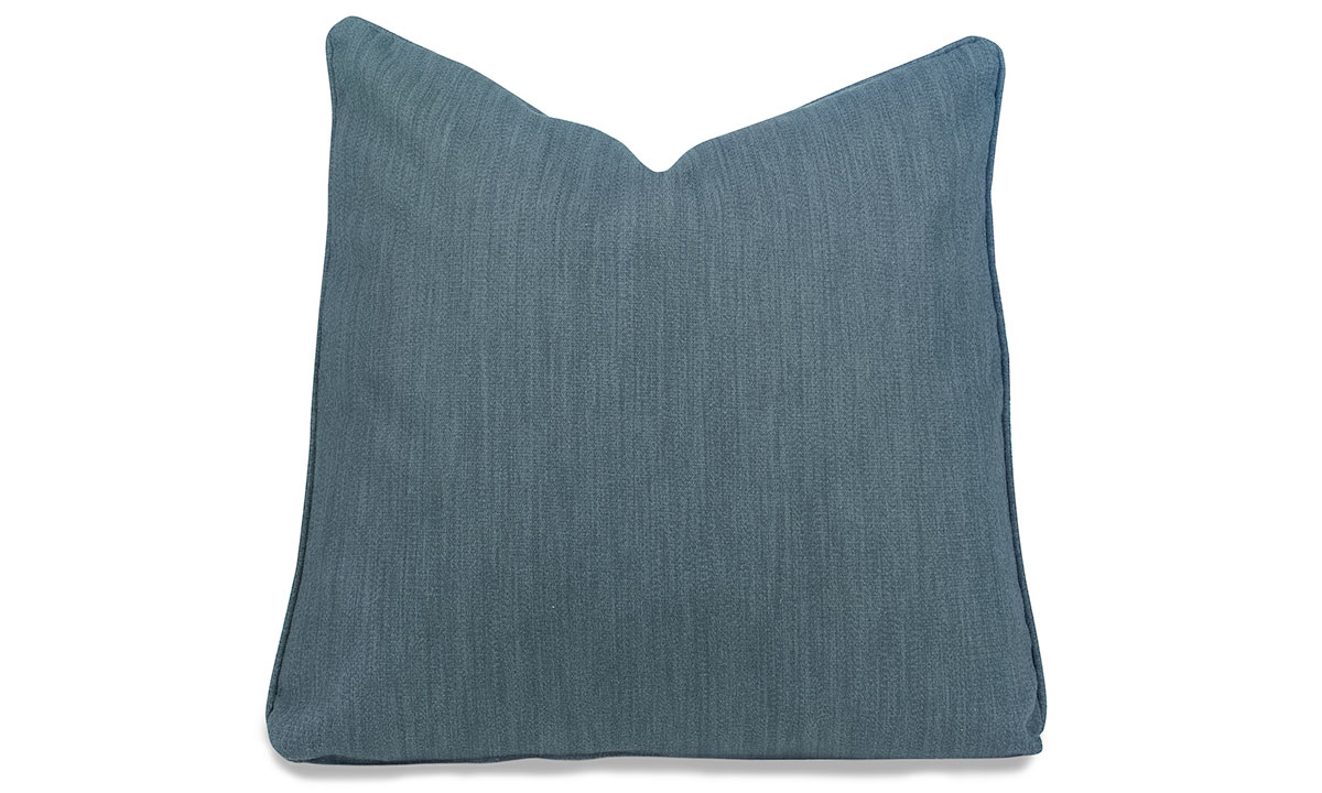 Plush 22-inch toss pillow in stain-resistant lapis blue upholstery