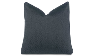 Plush 22-inch feather down toss pillow in stain-resistant blue chain fabric