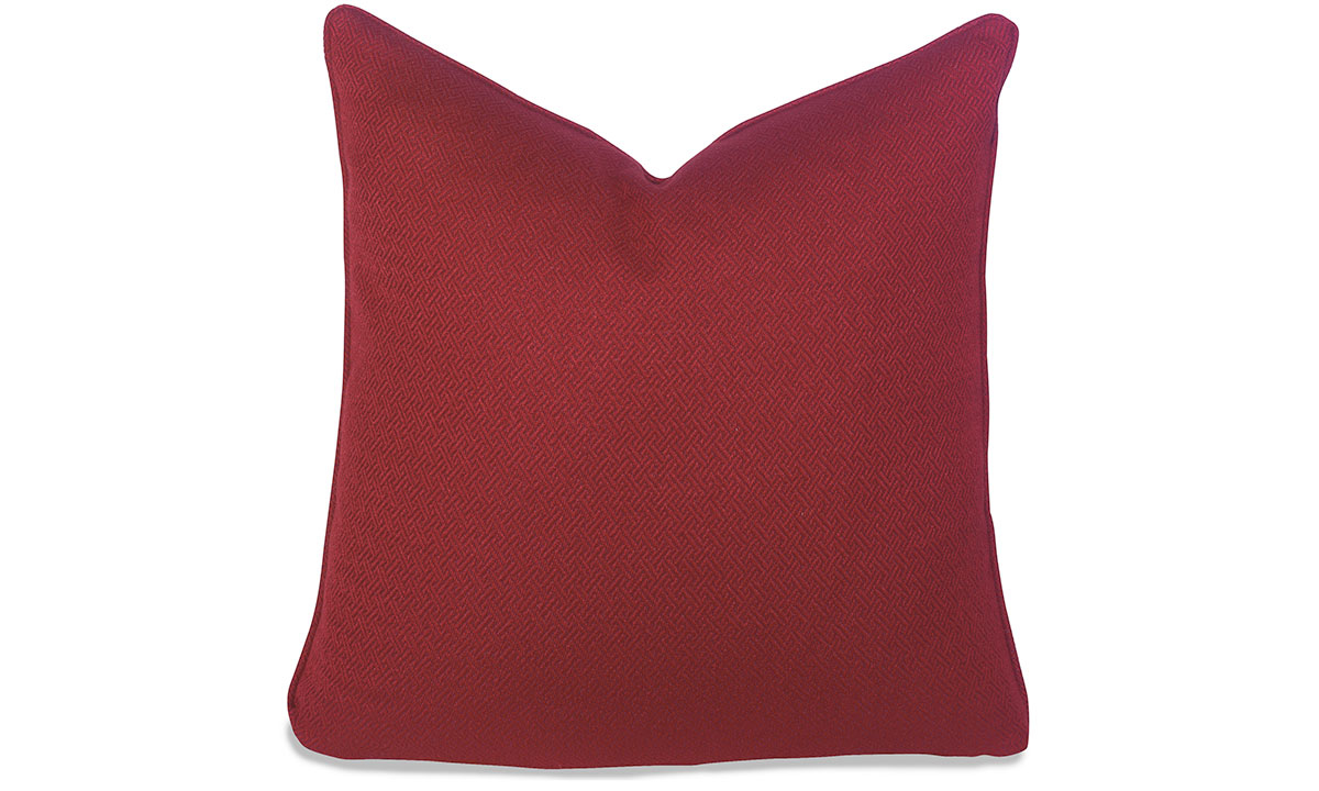 Plush 22-inch feather down accent pillow in greek key red stain-resistant fabric