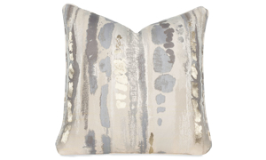 Plush 22-inch feather down toss pillow in stain proof cream fabric with metallic accents