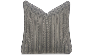 Plush 22-inch feather down accent pillow in stain-proof fabric with tan and black Aztec-inspired pattern