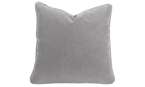 Plush 22-inch feather down accent pillow in stain proof grey velvet fabric
