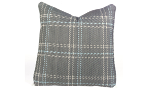Plush 22-inch feather down accent pillow in grey, plaid pattern