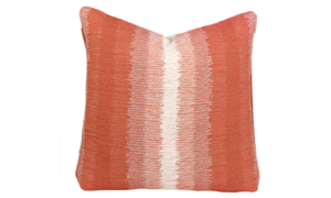 Plush 22-inch feather down accent pillow in orange ombre pattern