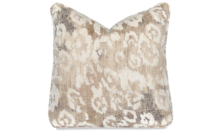 Plush 22-inch feather down accent pillow in metallic gold leopard print
