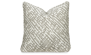 Plush 22-inch feather down accent pillow in beige and white crosshatched pattern
