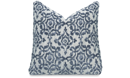 Plush 22-inch feather down accent pillow in blue and white swirl Suzani pattern