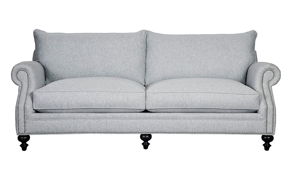 Classic 89-inch sofa with loose pillow-back cushions with nail head trim and roll arms in stone gray upholstery