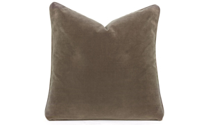 Plush 22-inch feather down accent pillow in brown velvet fabric