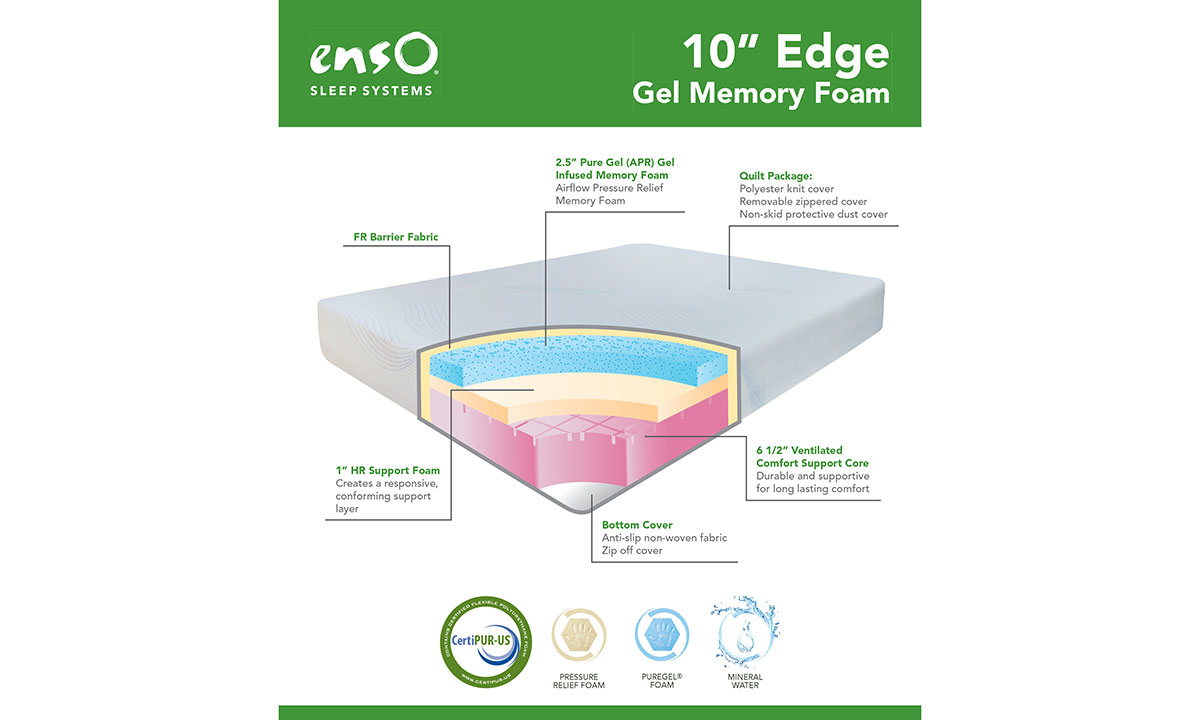 "Enso Edge 10"" Gel Memory Foam Mattresses"