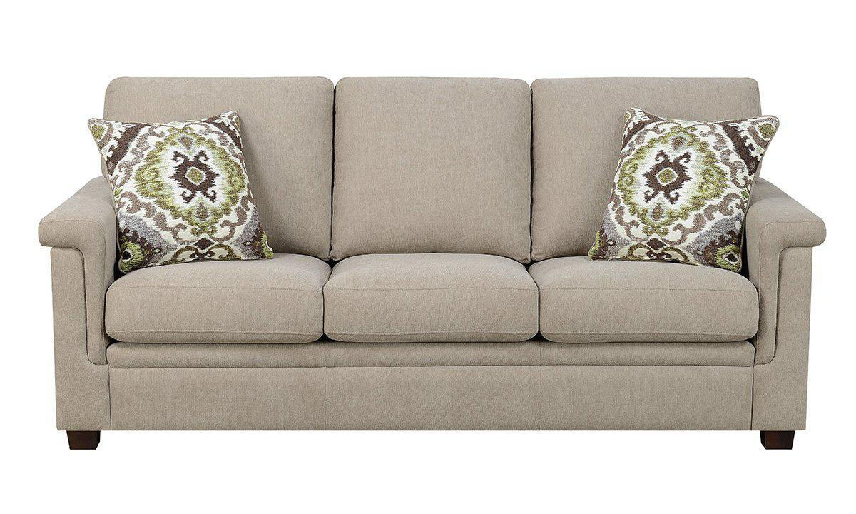 Neutral tone high back sofa in linen upholstery with green and brown throw pillows from Jennifer Furniture.