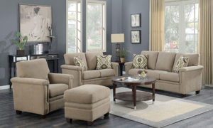4-piece living room set in beige linen upholstery with sofa, loveseat, chair and ottoman.