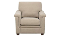 High-back arm chair with tapered wood feet in neutral linen upholstery