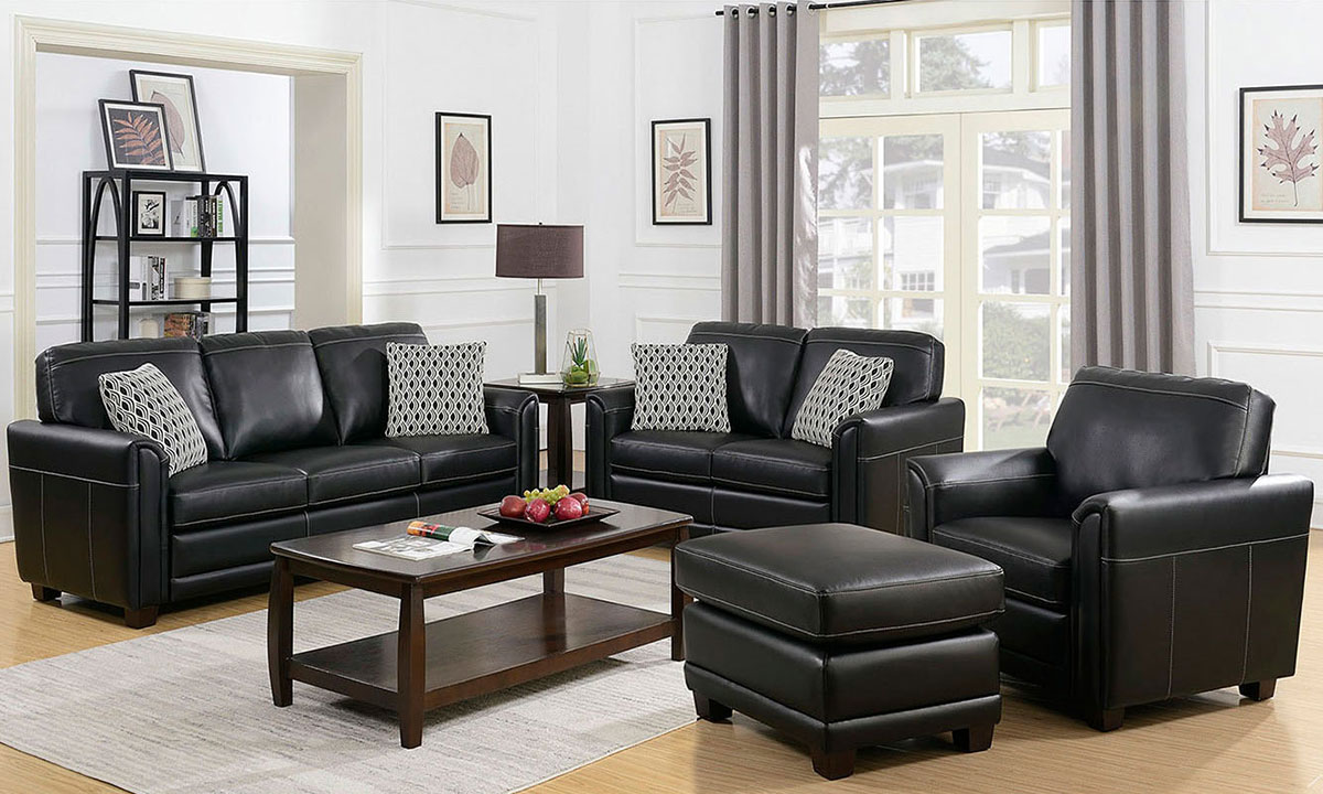 Phenomenal Jennifer Furniture American Made 4 Piece Sofa Set Black Machost Co Dining Chair Design Ideas Machostcouk