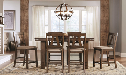 A-America Eastwood 5-Piece Trestle Counter Height Dining Set in Tobacco Brown with 78-inch table with butterfly leaf and four V-slat side chairs