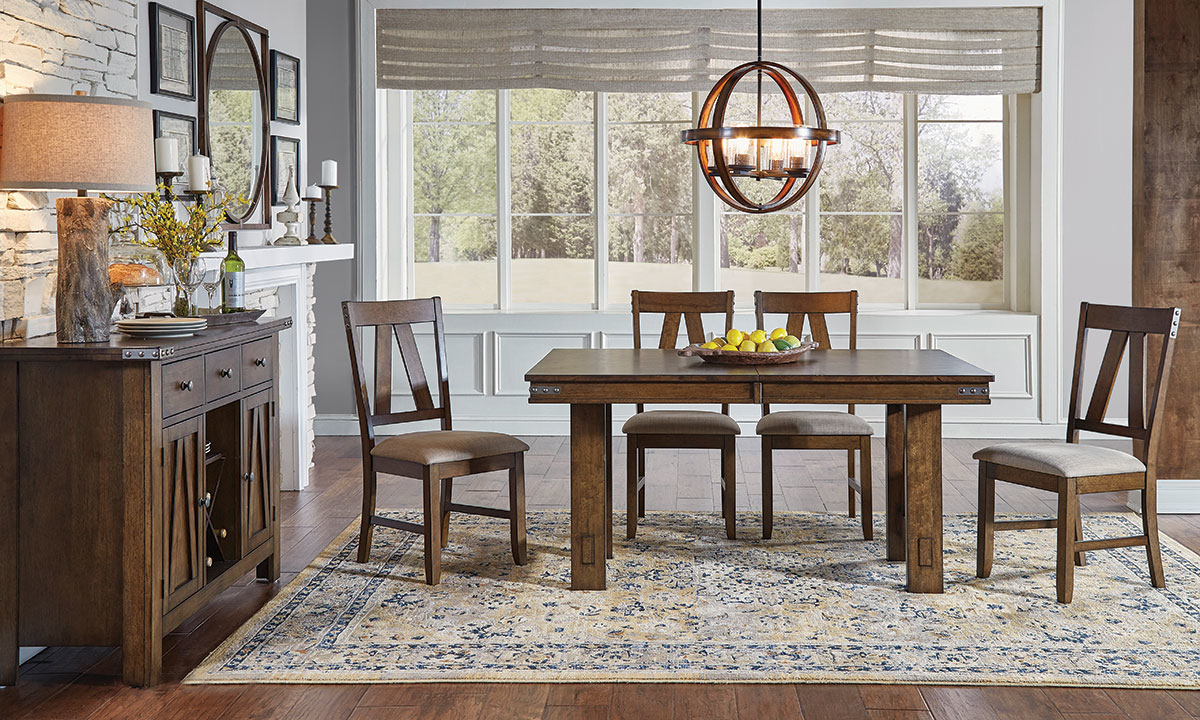 A-America Eastwood Tobacco Brown 5-Piece Trestle Dining Set - Table view with Self-Storing Butterfly Leaf