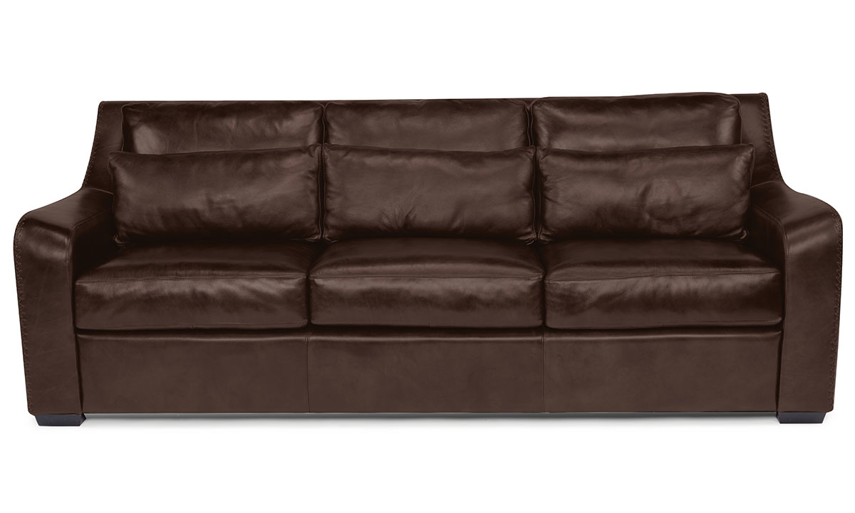 Flexsteel Crimson Top Grain Leather Sofa Brown The Dump