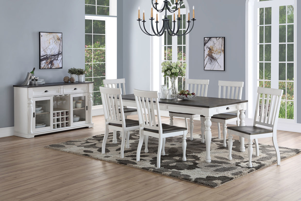 Joanna 7-Piece Farmhouse Dining Set with 80-inch Table and 6 Chairs in Two-Tone Charcoal and Ivory Finish