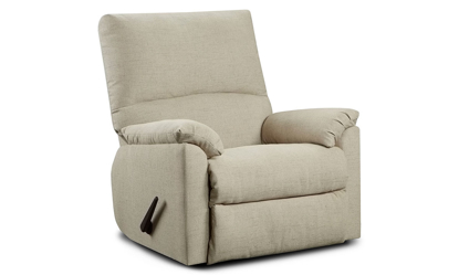 Washington Furniture Mitchell Pub Back Recliner with Pillowtop Arms in Sand Upholstery