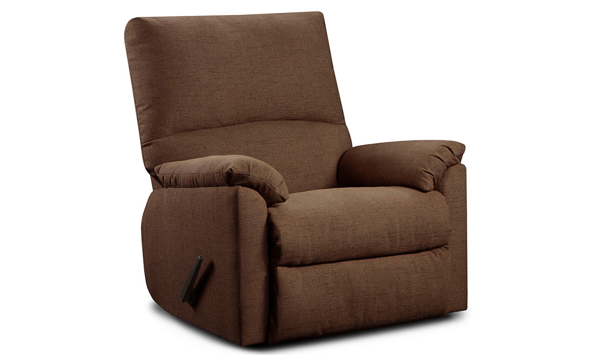 Washington Furniture Mitchell Pub Back Manual Recliner with Pillow Top Arms in Chocolate Brown