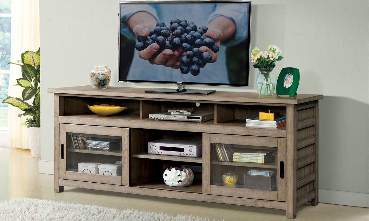 """Riverside Furniture Perspectives 74"""" Media Console Light Brown"""