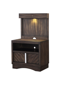 Manhattan King Wall Bed with Lights - nightstand