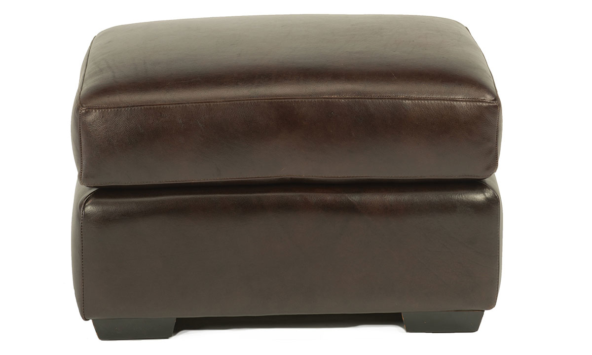 Flexsteel Crimson Top Grain Leather Ottoman Brown