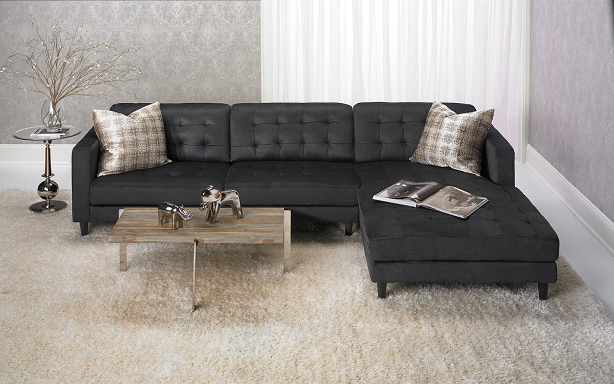 Contemporary Dark Grey Velvet Blend Sofa with Over-sized 6-ft Chaise and Throw Pillows in Family Room