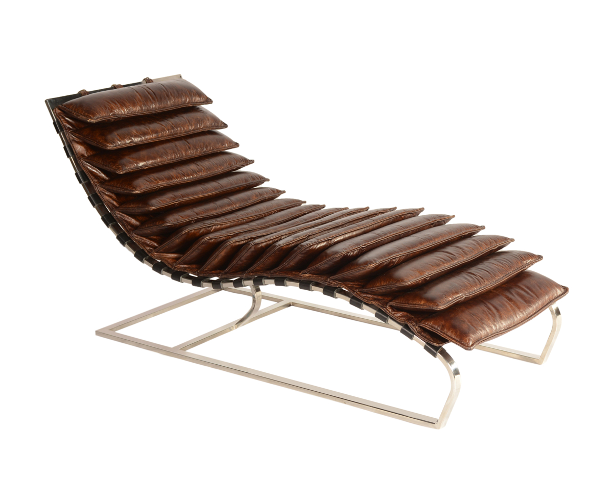 Lazzaro Layered Leather Chaise Brown