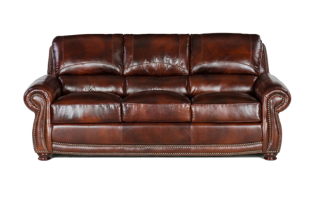 Traditional roll arm sofa with plush back in rich brown top grain leather - Front View