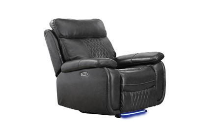 Wilder Dark Gray Quilted Faux-Leather Fabric Power Recliner with LEDs and USB Charging