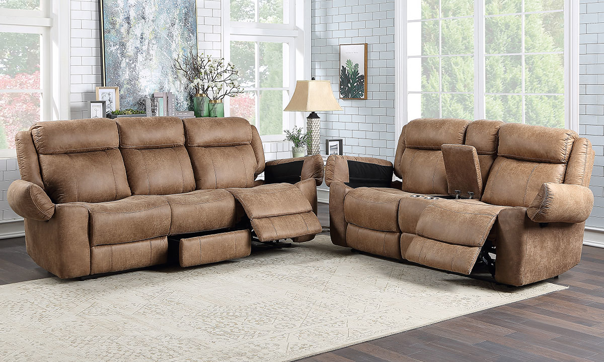 Saddle Reclining Sofa Set Brown The