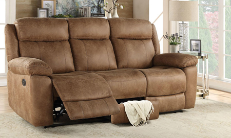 88-inch manual reclining bustle back sofa with hidden storage in brown upholstery