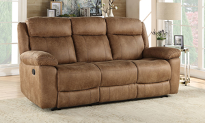 Plush 88-inch sofa with manual recliner, bustle back and hidden storage in brown upholstery