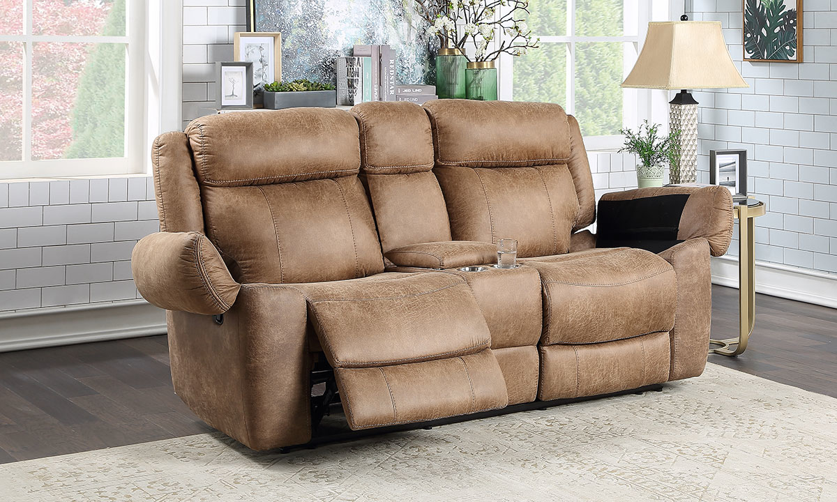 Saddle Reclining Loveseat With Storage In Brown The Dump Luxe Furniture Outlet