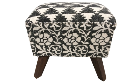 18-inch ottoman stool with black and white geometric and floral block-print patterned upholstery